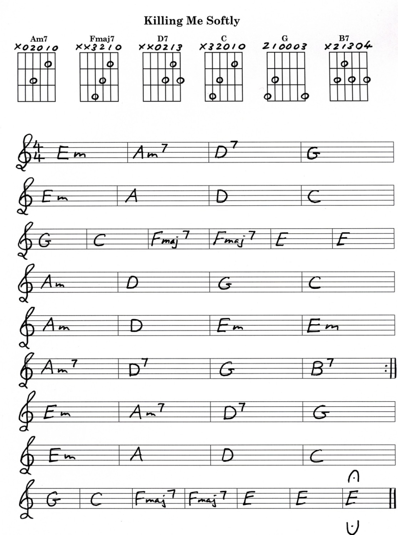 Killing Me Softly Basic Chords Review Chart And Video On