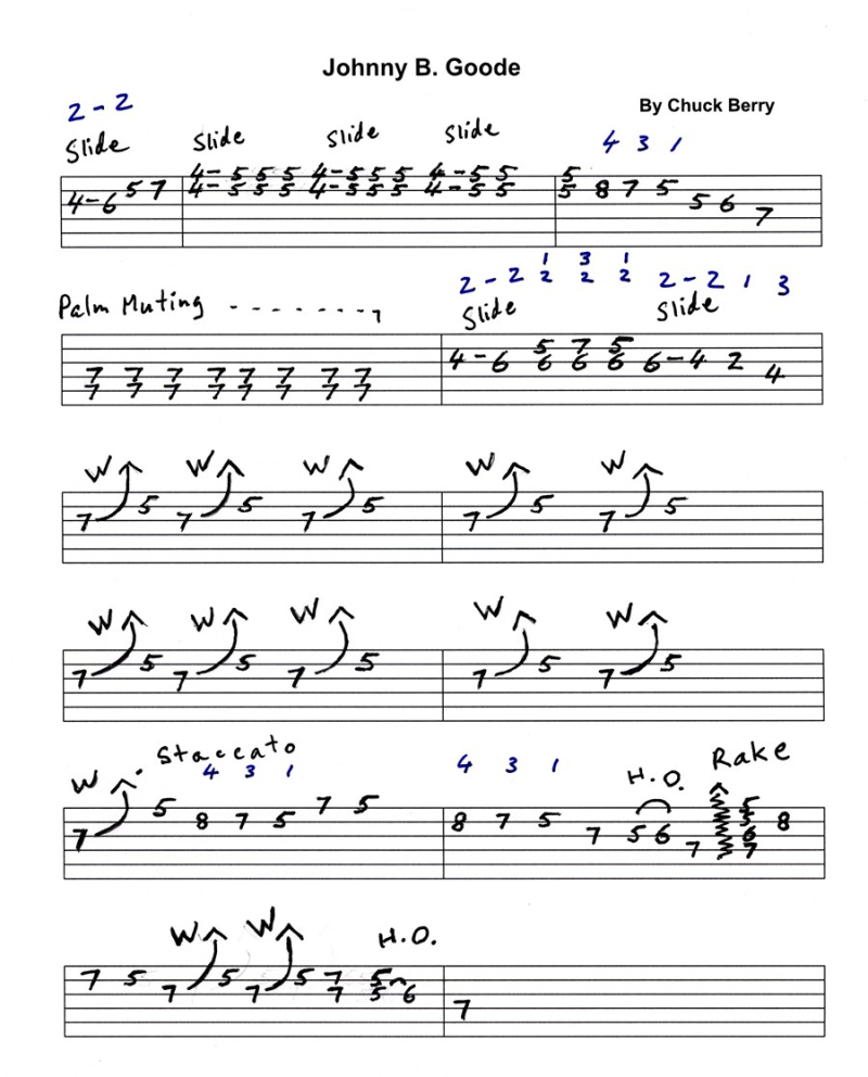 Johnny B Goode Tab And Video On Practicing Guitar